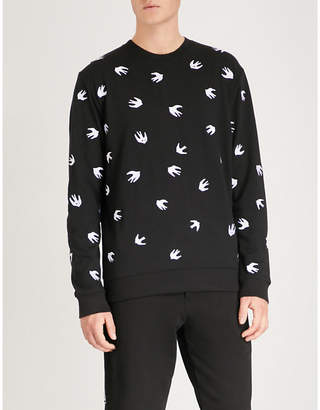 McQ Swallow-embroidered cotton-jersey sweatshirt