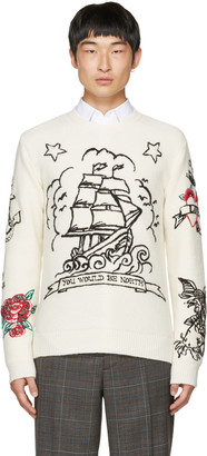 Valentino Off-White 'You Would Be North' Tattoo Sweater $1,695 thestylecure.com