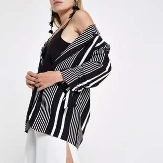 River Island Womens Black stripe print rouche sleeve blazer
