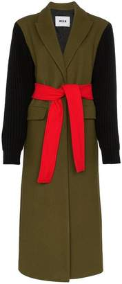MSGM ribbed sleeve belted wool blend coat