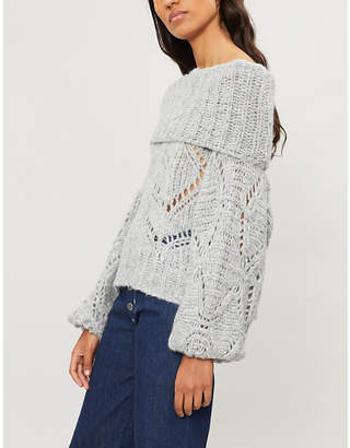 Free People Nimbus off-the-shoulder knitted jumper