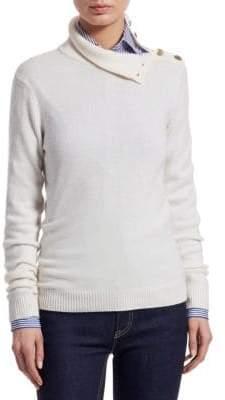 Ralph Lauren Iconic Style Turtleneck Button-Shoulder Cashmere Sweater