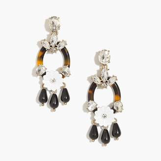 J.Crew Tortoise flower statement earrings