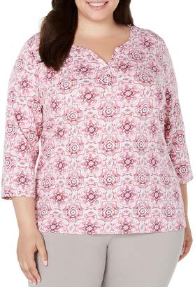 Karen Scott Plus Three-Quarter-Length Printed Blouse