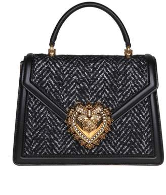 Dolce & Gabbana Medium Devotion Bag In Chevron Fabric