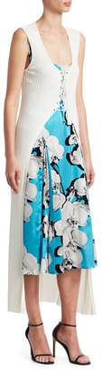 Roberto Cavalli Orchid Print Dress with Knit Cardigan