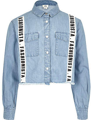 River Island Girls Blue 'Fashionista' tape cropped shirt