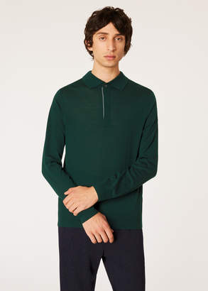 Paul Smith Men's Forest Green Merino Wool Long-Sleeve Polo Shirt