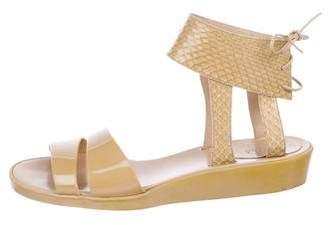 Chloé Snakeskin Ankle Strap Sandals