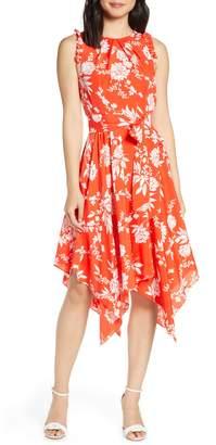 Eliza J Floral Sleeveless Handkerchief Hem Midi Dress
