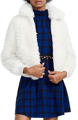 Maje Faux Fur Shearling Cropped Jacket