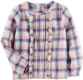 Osh Kosh Oshkosh Long Sleeve Plaid Blouse-Toddler Girls