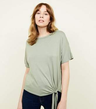 New Look Olive Green Tie Side T-Shirt