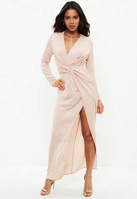 Missguided Pink plunge wrap front maxi dress