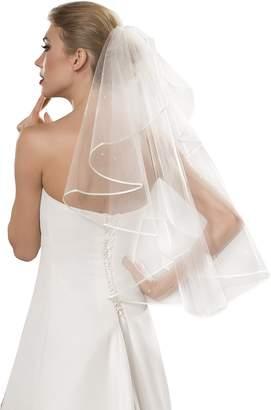OssaFashion- BridalWear 1-tier wedding bridal beaded veil waist length handmade decorated with 30 pearls