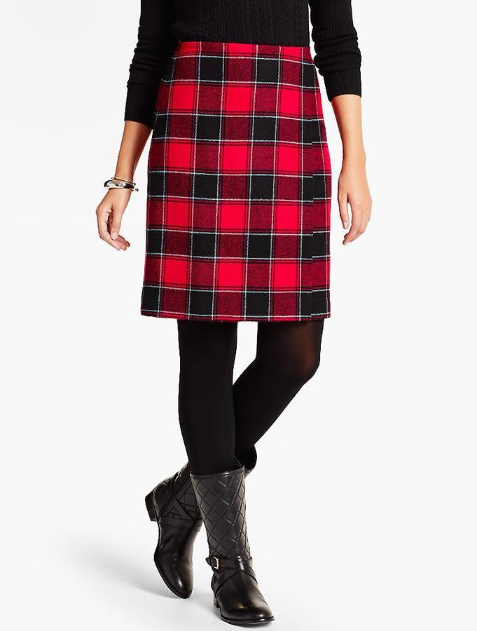 Plaid Wrap A-Line Skirt