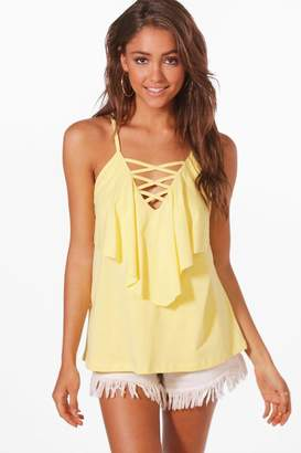 boohoo Lace Up Double Layer Cami