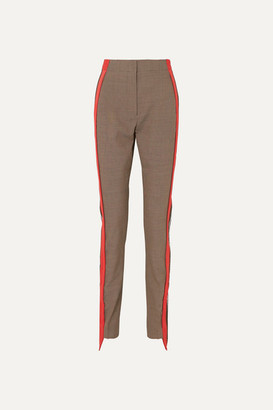 Burberry Jersey-trimmed Houndstooth Wool And Cotton-blend Straight-leg Pants - Beige