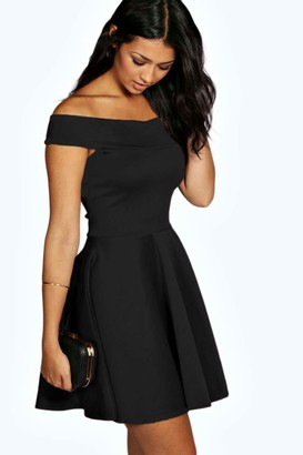 boohoo Off The Shoulder Skater Dress