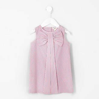 River Island Mini girls Pink stripe bow sleeveless dress