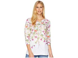 FDJ French Dressing Jeans Cascading Flowers Notched Top Women's Clothing