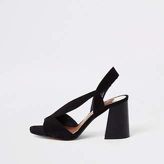 River Island Black wide fit asymmetric flare heel sandals