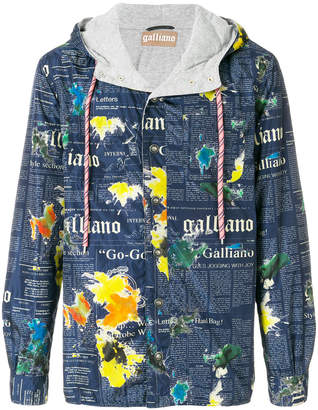 John Galliano lettering print hooded jacket