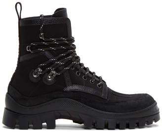 DSQUARED2 Black Canvas Hiker Boots