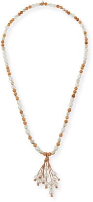 Neiman Marcus Hipchik Georgia Pearly Leather Tassel Necklace