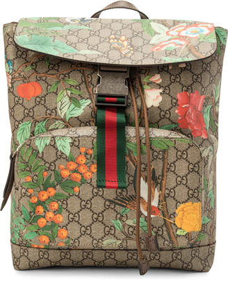8eda3e57c7c809 Pre-Owned at StockX · Gucci Backpack GG Supreme Monogram Tian Print Brown /Red/Yellow