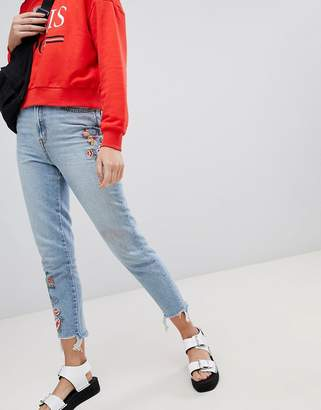 New Look embroidered mom jeans