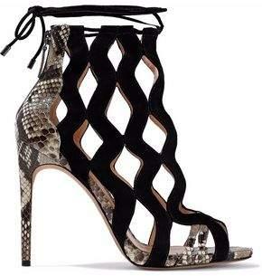 Alexandre Birman Loretta Cutout Suede And Python Sandals