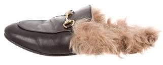 Gucci 2017 Fur-Trimmed Princetown Mules