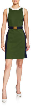 Tory Burch Colorblock Sleeveless Ponte Dress with Belt