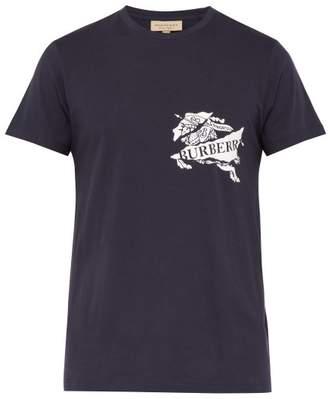Burberry Logo Print Cotton T Shirt - Mens - Navy