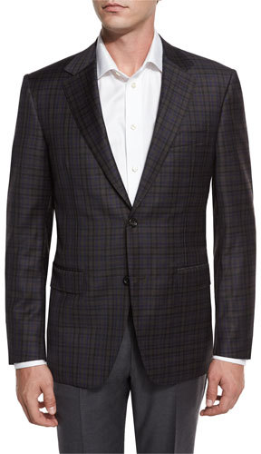 Canali Canali Check Super 130s Wool Two-Button Sport Coat, Brown/Blue