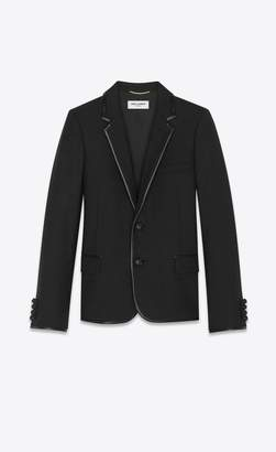 Saint Laurent Jacket In Wool Gabardine And Leather Bias