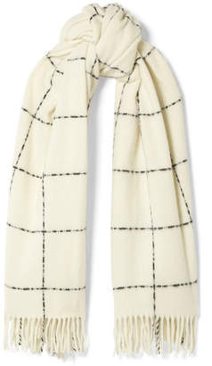 Holzweiler - Dipper Fringed Checked Wool And Cashmere-blend Scarf - Ivory