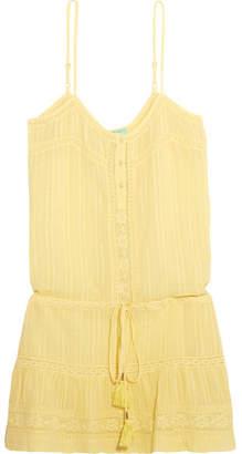 Melissa Odabash Karen Lace-trimmed Cotton Mini Dress - Yellow