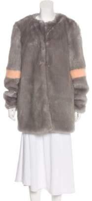 Shrimps Faux Fur Short Coat Grey Faux Fur Short Coat