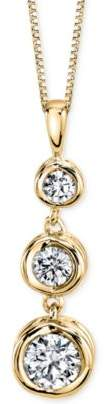 Sirena Energy Diamond Three-Stone Pendant Necklace (1/3 ct. t.w.) in 14k Yellow Gold or White Gold