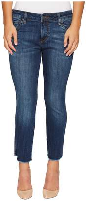 KUT from the Kloth Petite Reese Ankle Straight w/ Frey Hem in Upheld w/ Dark Stone Base Wash Women's Jeans