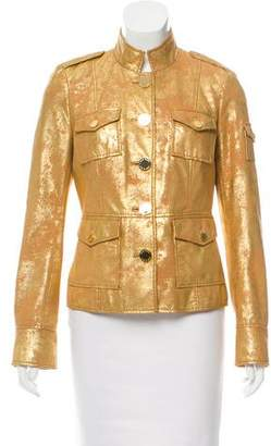 Tory Burch Leather Metallic Jacket