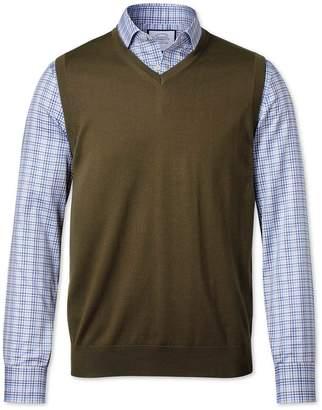 Charles Tyrwhitt Olive Merino Wool Sweater Vest Size Small