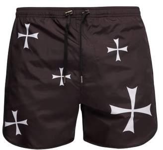 Neil Barrett Cross Print Swim Shorts - Mens - Black Multi
