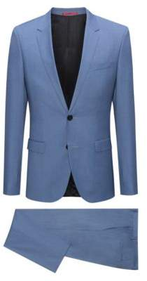 HUGO Boss Extra-slim-fit melange virgin wool suit 36R Turquoise