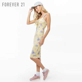 Forever 21 (フォーエバー 21) - Forever 21 フロントリボンフラワーワンピース