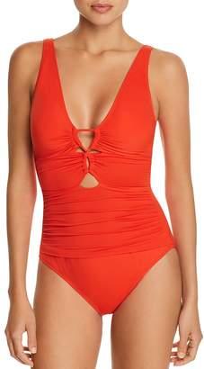Lauren Ralph Lauren Beach Club Solid Loop Front One Piece Swimsuit