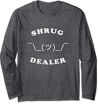 Shrug Dealer Long Sleeve Shirt   Funny Shrugging Emoji Tee