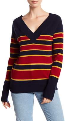 Equipment Dorothy Striped V-Neck Cashmere Sweater